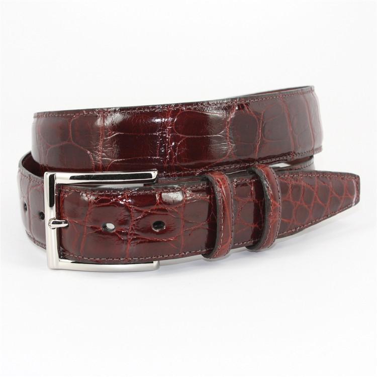 Genuine American Alligator Belt in Dark Cognac by Torino Leather Co.