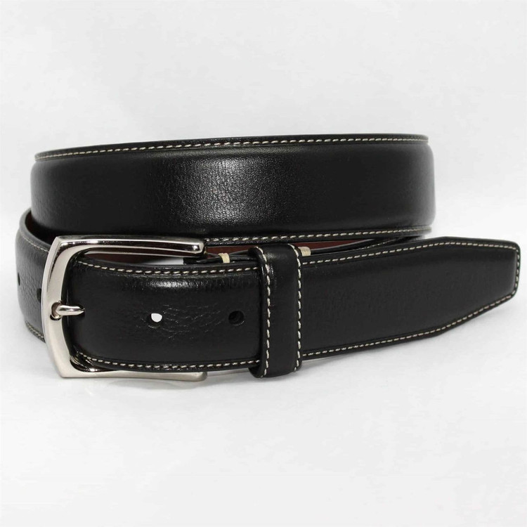 burnished tumbled leather belt in blacktorino leather