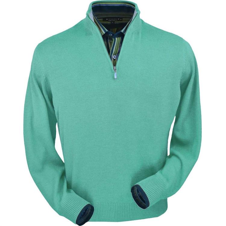 Royal Alpaca Half-Zip Sweater in Aqua Heather by Peru Unlimited