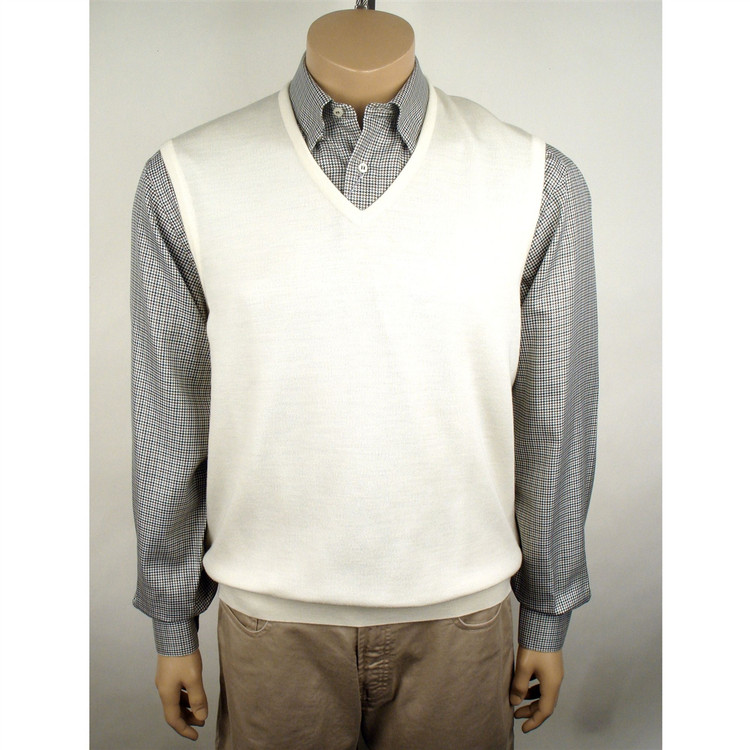 Classic Merino Wool Pullover Vest in White by St. Croix