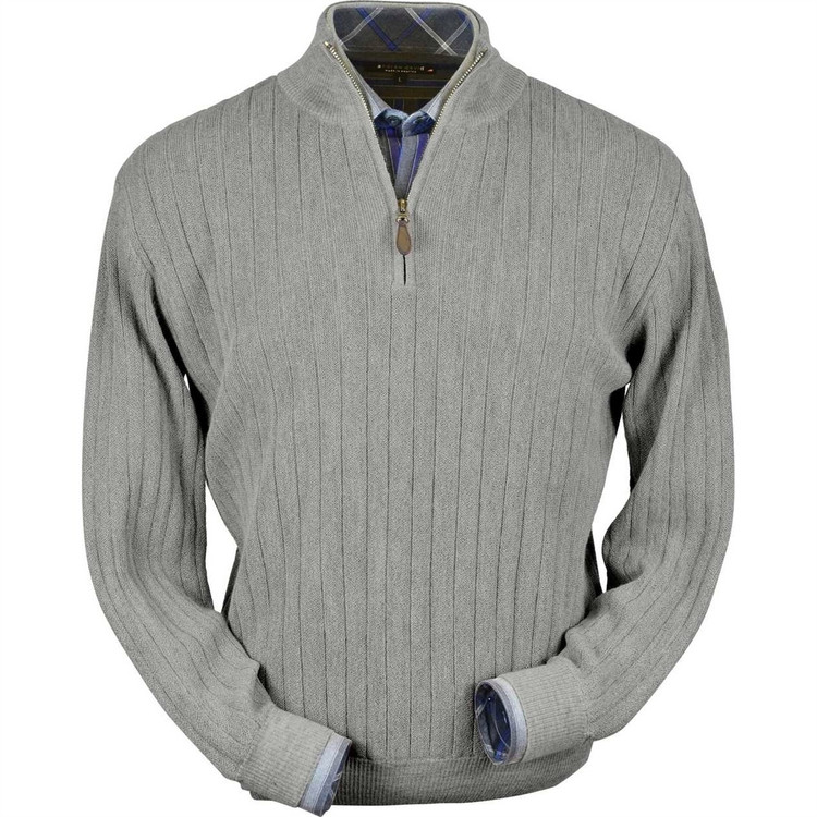 Baby Alpaca Link Stitch Half-Zip Mock Neck Sweater in Silver Grey Heather by Peru Unlimited