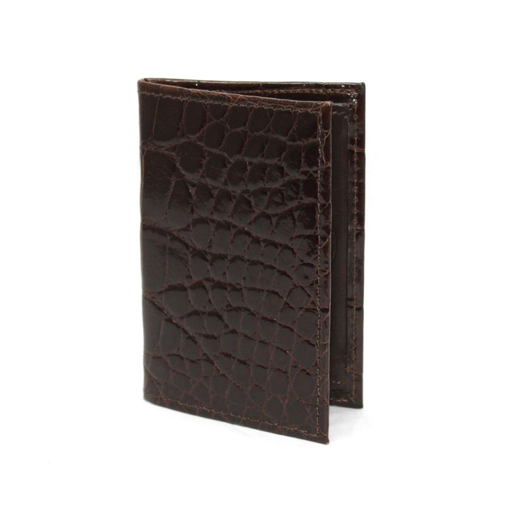 Genuine Alligator Gusseted Card Case in Brown by Torino Leather Co.