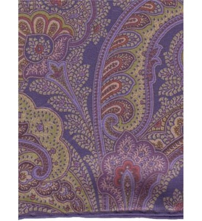 Paisley Silk Pocket Square in Marine by Robert Talbott