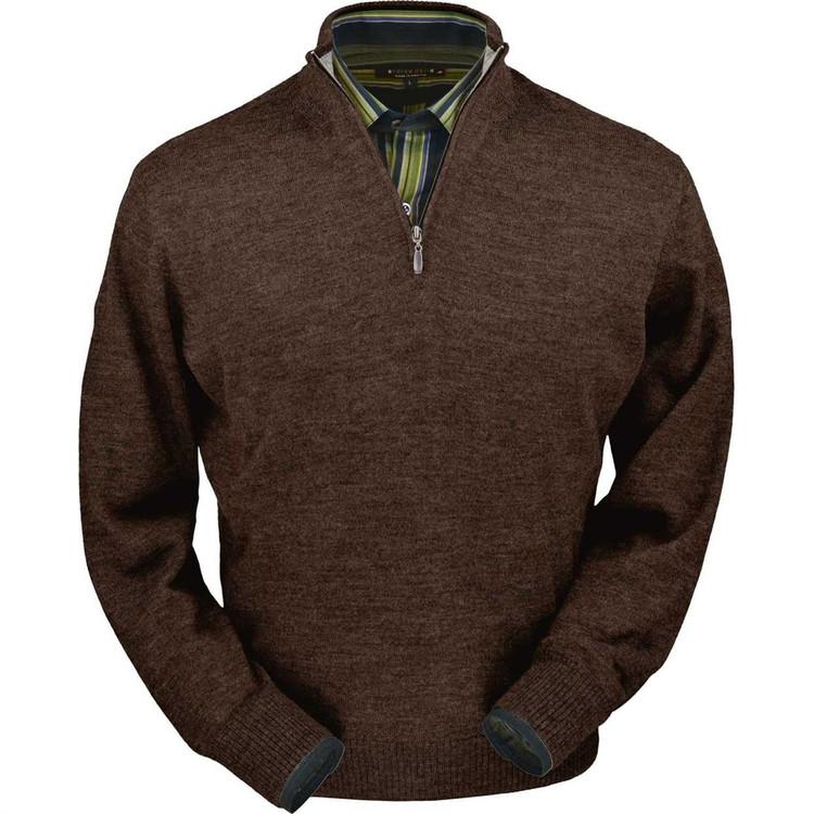 Royal Alpaca Half-Zip Sweater in Chocolate Heather by Peru Unlimited