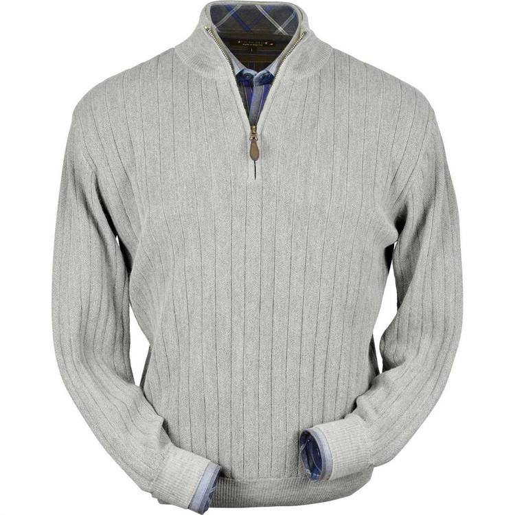 Baby Alpaca Link Stitch Half-Zip Mock Neck Sweater in Light Grey Heather by Peru Unlimited