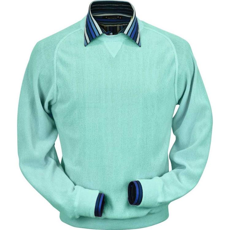 Baby Alpaca Link Stitch Sweatshirt Style Sweater in Mint by Peru Unlimited