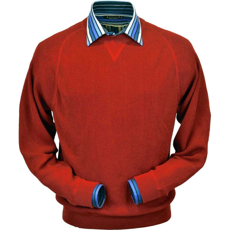 Baby Alpaca Link Stitch Sweatshirt Style Sweater in Wisconsin Red by Peru Unlimited