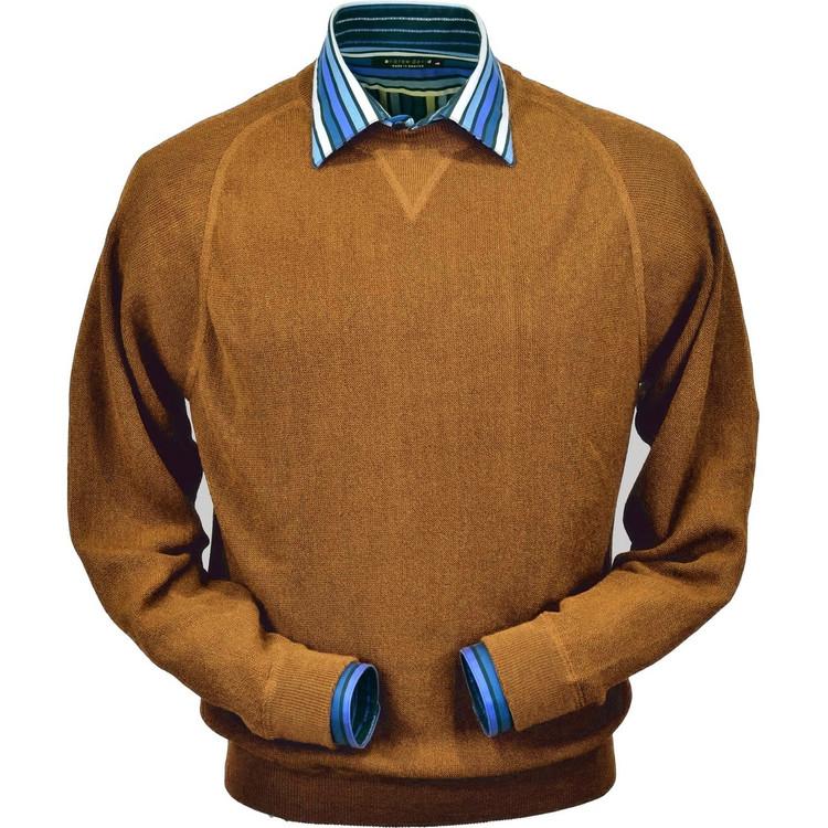 Baby Alpaca Link Stitch Sweatshirt Style Sweater in Brick Heather by Peru Unlimited