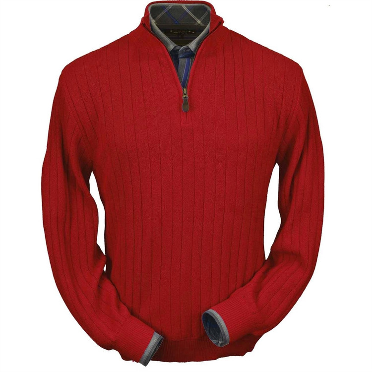 Baby Alpaca Link Stitch Half-Zip Mock Neck Sweater in Rouge Red by Peru Unlimited