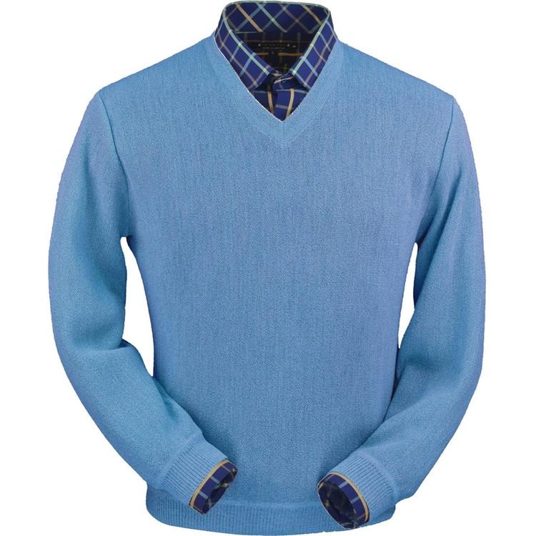 Baby Alpaca Link Stitch V-Neck Sweater in Coastal Heather by Peru Unlimited
