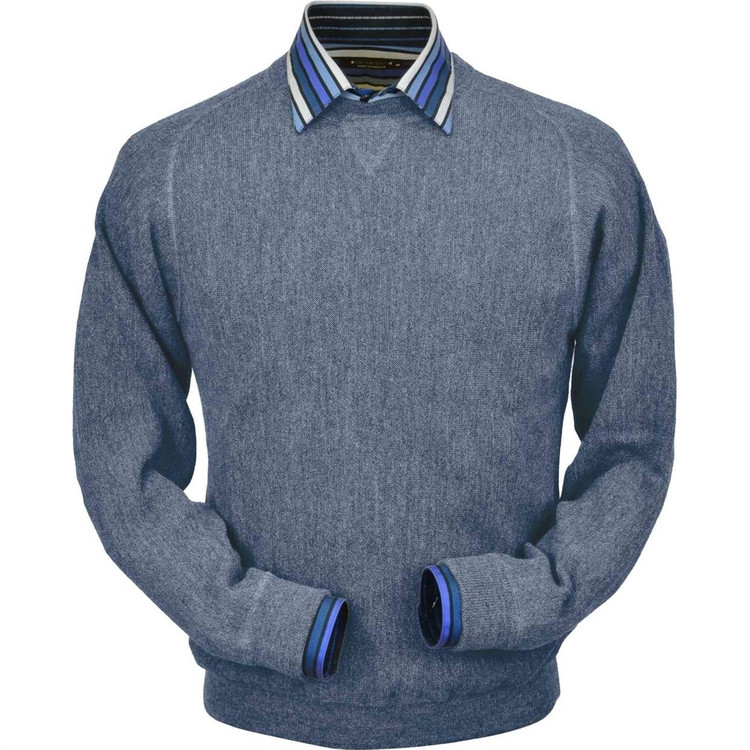 Baby Alpaca Link Stitch Sweatshirt Style Sweater in Sky Heather by Peru Unlimited