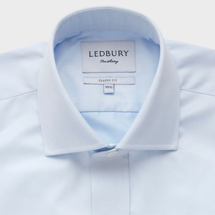 The Blue Fine Twill Spread Dress Shirt by Ledbury