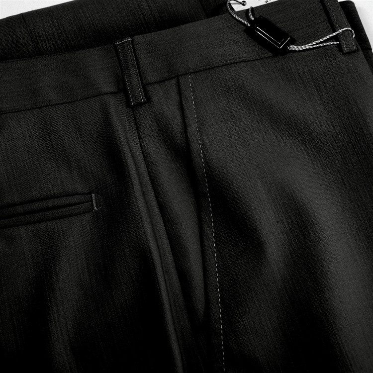 Flat Front Merino Wool Tropical Weight Trouser in Black (Size 44 Only) by St. Croix
