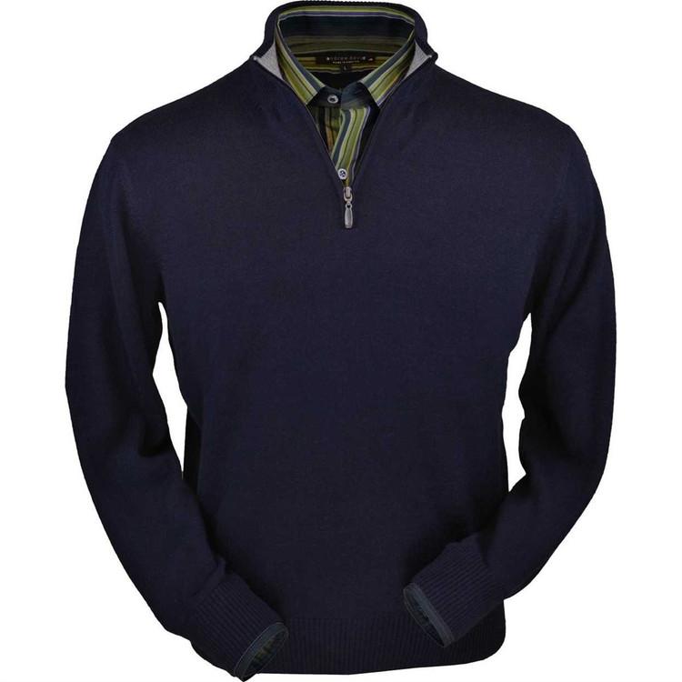 Royal Alpaca Half-Zip Sweater in Navy by Peru Unlimited