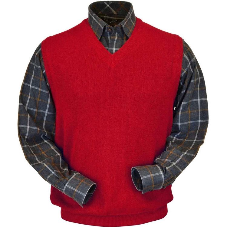 Baby Alpaca Link Stitch Sweater Vest in Rouge Red by Peru Unlimited