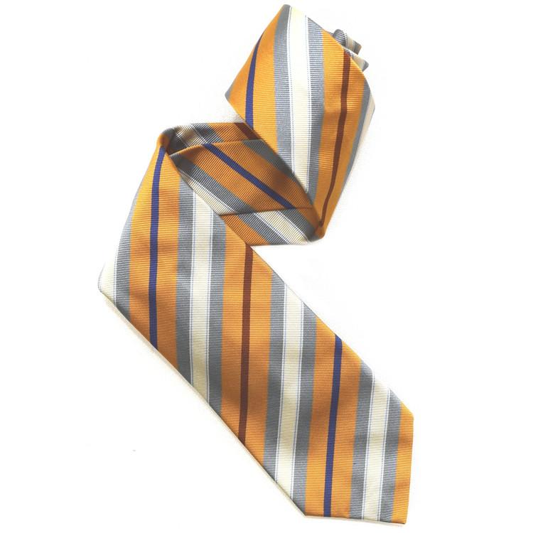 Orange, Grey, and Cream Silk Faille Repp Tie by Robert Jensen