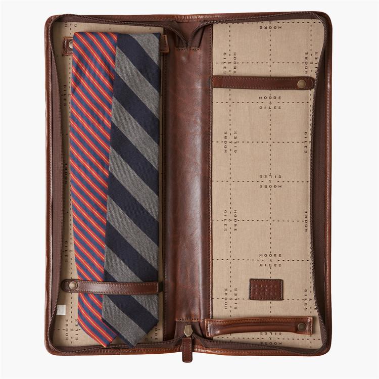 Evans Tie Case in Titan Milled Brown by Moore & Giles
