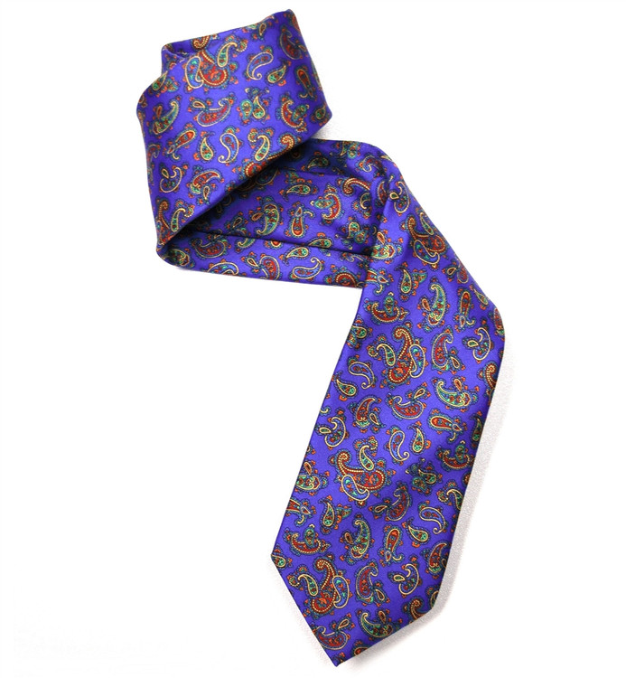 Blue, Red, and Green Paisley Silk Tie by Marchesi di Como