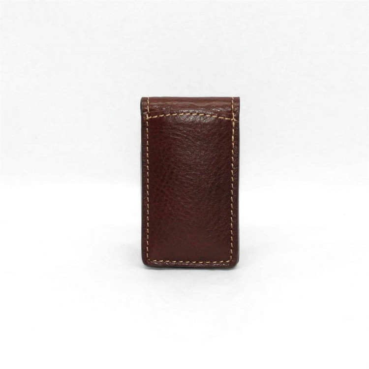Tumbled Glove Leather Magnetic Money Clip in Brown by Torino Leather Co.