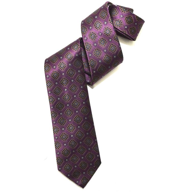 Purple, Black, and Brown Medallion Woven Silk Tie by Robert Jensen