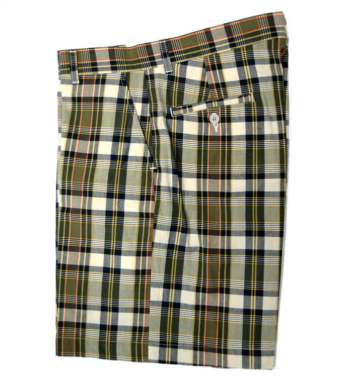 Retro Plaid Parker Short in Olive (Size 32) by Bills Khakis