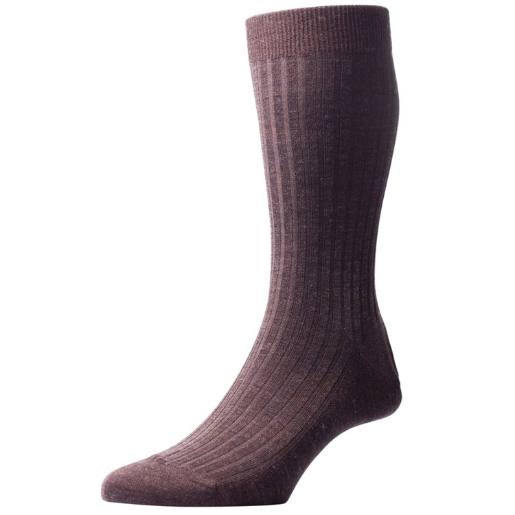 Laburnum - 5x3 Rib Merino Wool Sock in Dark Brown Mix (3 Pair) by Pantherella