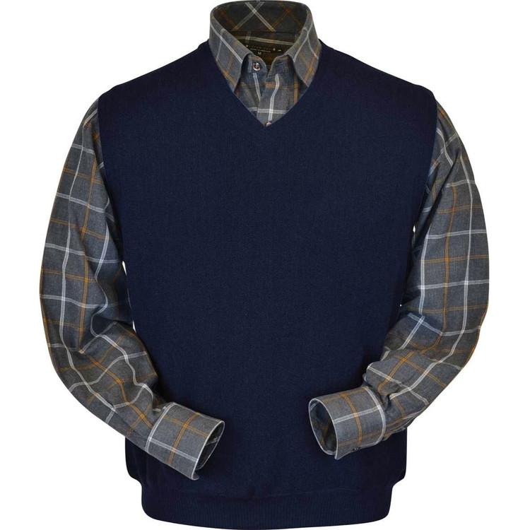 Baby Alpaca Link Stitch Sweater Vest in Navy by Peru Unlimited