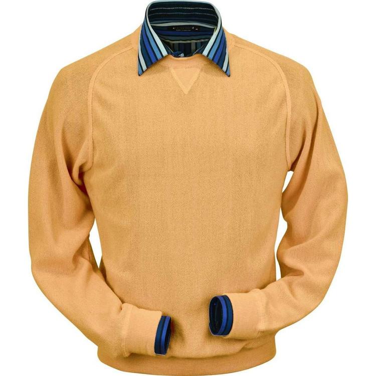 Baby Alpaca Link Stitch Sweatshirt Style Sweater in Melon by Peru Unlimited