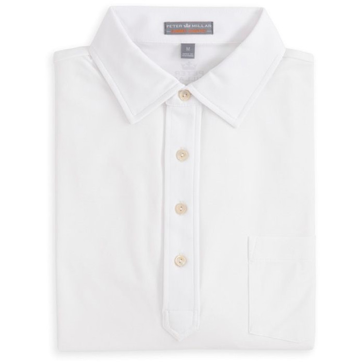 Solid E4 Summer Comfort Stretch Jersey Polo with Snedeker Collar in White by Peter Millar