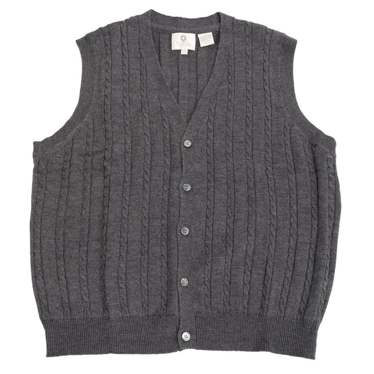 Merino Wool Cable Knit V-Neck Sweater Vest in Charcoal by Viyella
