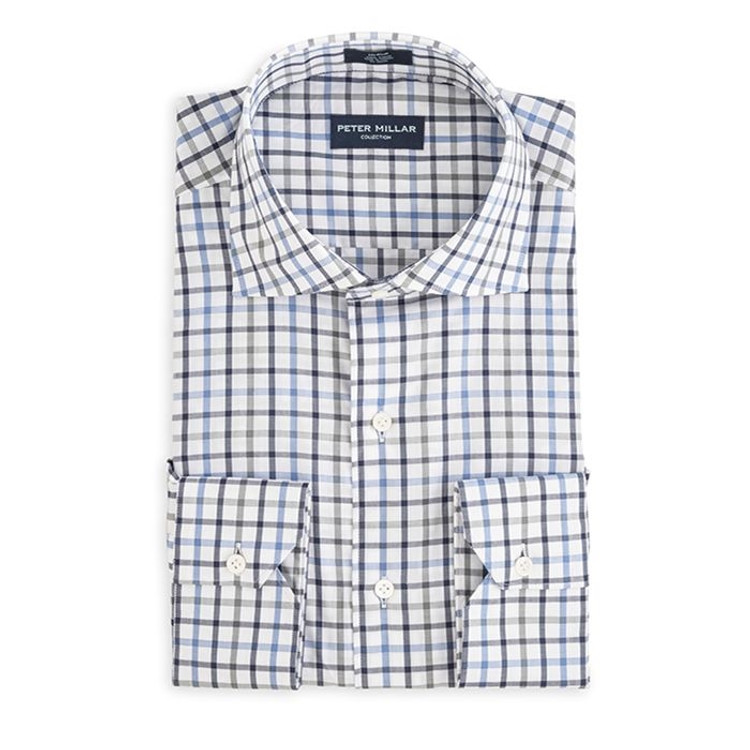 Collection Multi Tattersall Sport Shirt in Charcoal by Peter Millar
