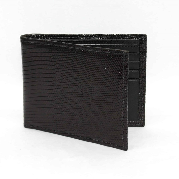 Genuine Lizard Billfold Wallet in Black by Torino Leather Co.