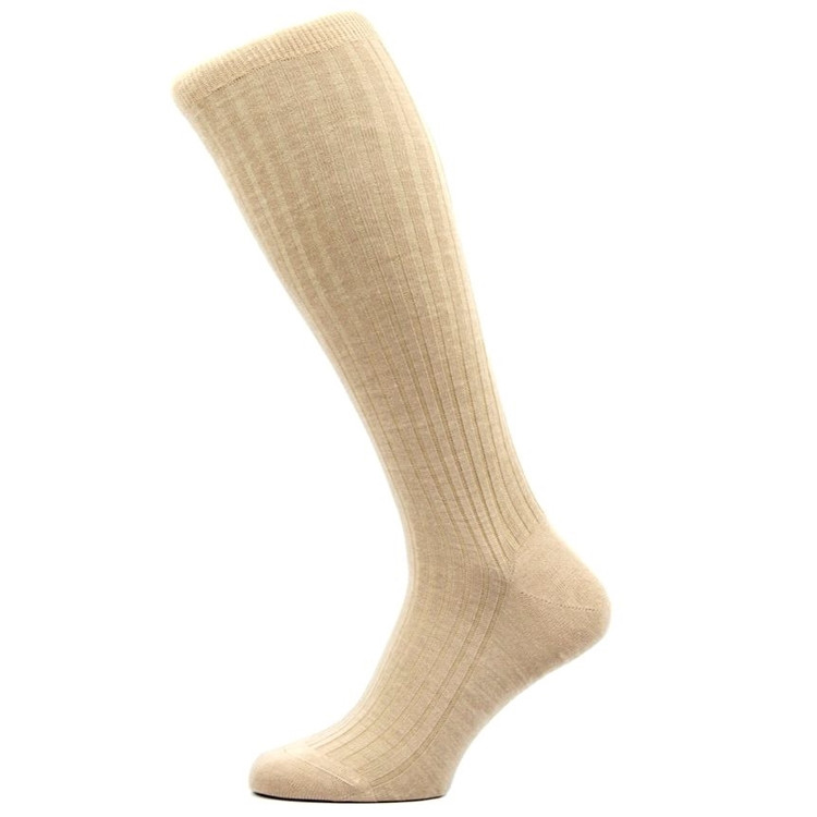 Laburnum - 5x3 Rib Merino Wool Over-the-Calf Sock in Light Khaki (3 Pair) by Pantherella