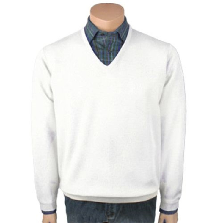 Classic Wool V-Neck Sweater in White by St. Croix