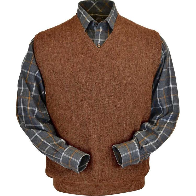 Baby Alpaca Link Stitch Sweater Vest in Light Rust Heather by Peru Unlimited