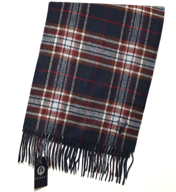 Navy, Grey, and Burnt Sienna Double Faced Plaid/Solid Wool and Cashmere Scarf by Viyella