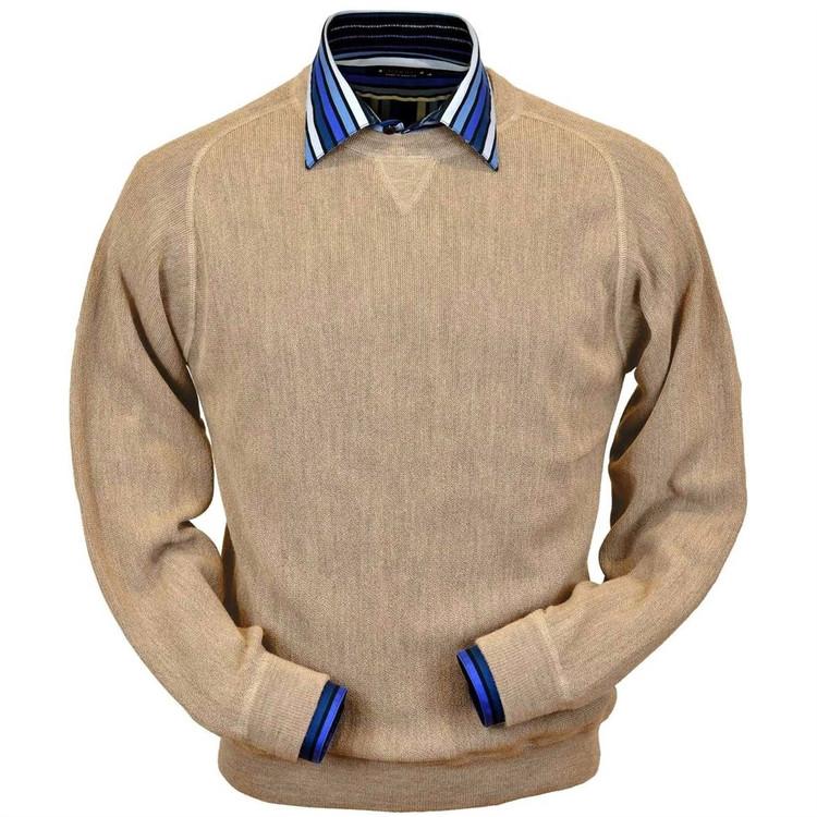 Baby Alpaca Link Stitch Sweatshirt Style Sweater in Beige Heather by Peru Unlimited