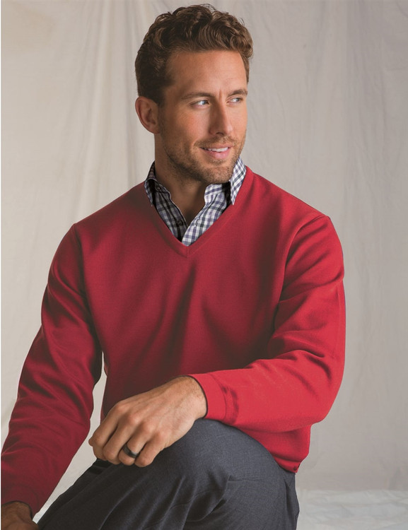 Classic Wool V-Neck Sweater in Red by St. Croix
