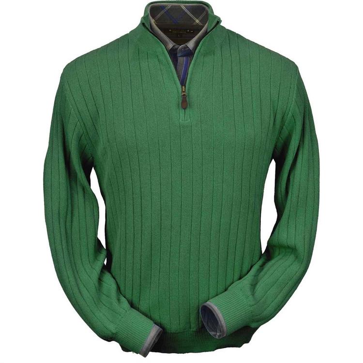 Baby Alpaca Link Stitch Half-Zip Mock Neck Sweater in Pebble Green by Peru Unlimited