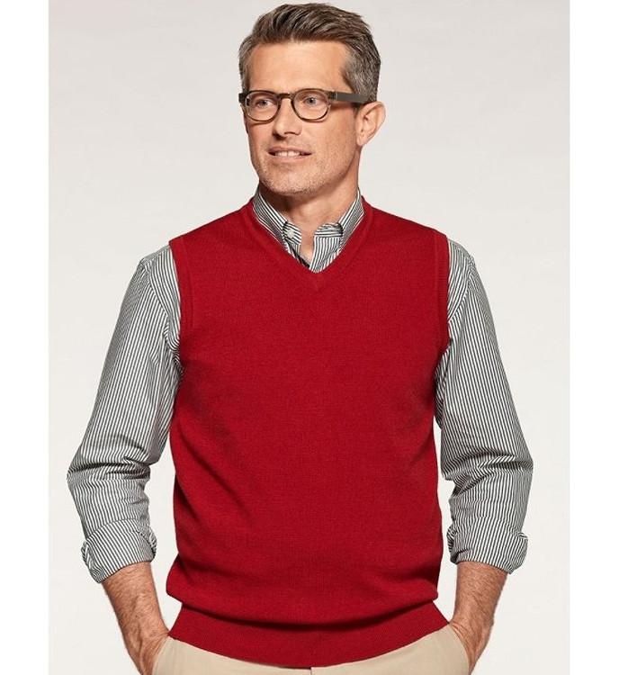 Fine-Gauge Merino Pullover Vest in Red by Pendleton
