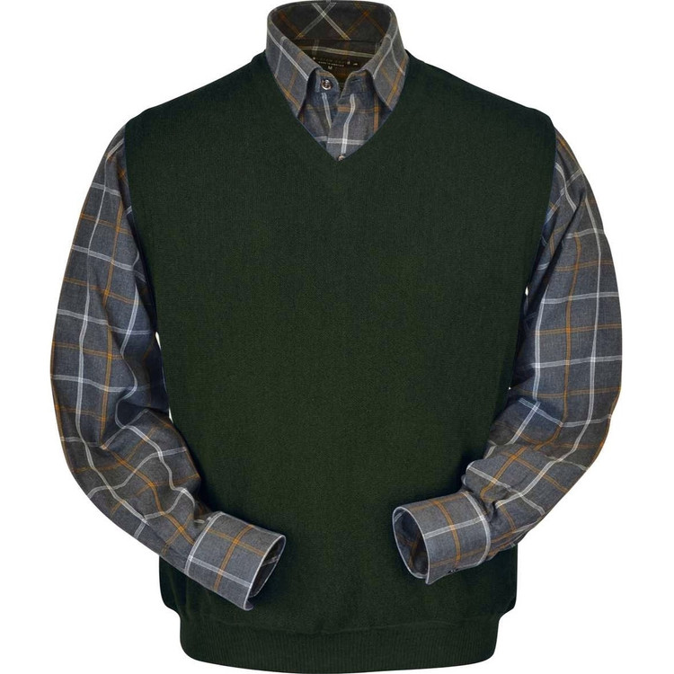 Baby Alpaca Link Stitch Sweater Vest in Forest by Peru Unlimited
