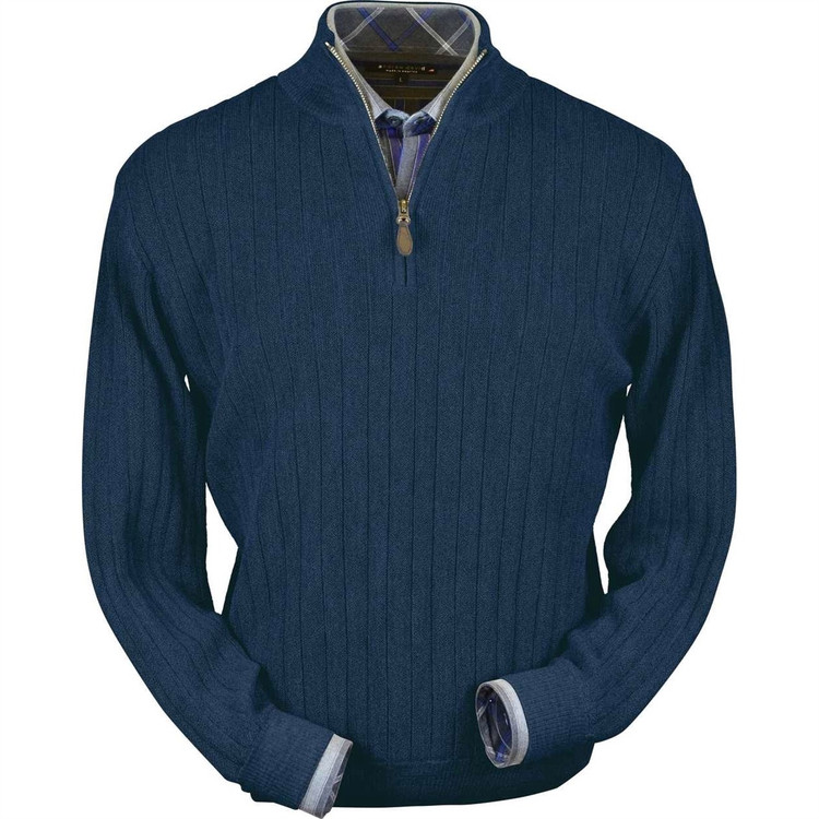 Baby Alpaca Link Stitch Half-Zip Mock Neck Sweater in Midnight Blue by Peru Unlimited