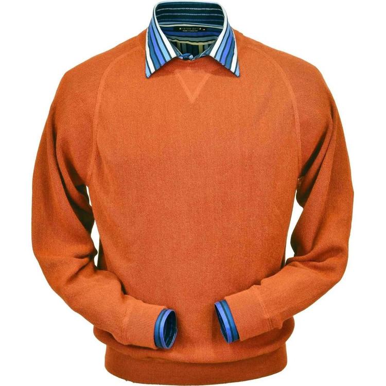 Baby Alpaca Link Stitch Sweatshirt Style Sweater in Orange by Peru Unlimited