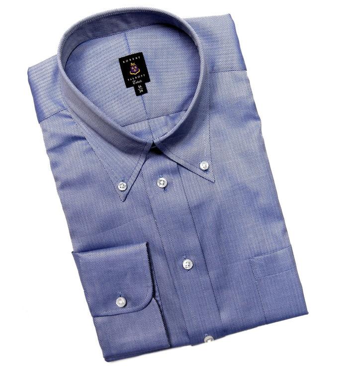 Navy and White Herringbone Estate Dress Shirt (Size 16 1/2 - 35) by Robert Talbott