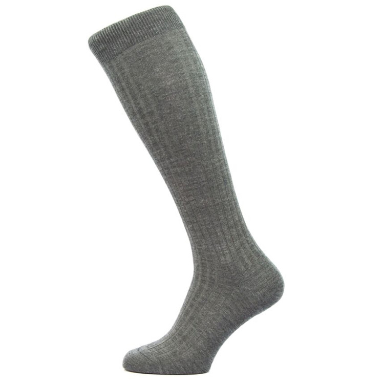 Laburnum - 5x3 Rib Merino Wool Over-the-Calf Sock in Dark Grey Mix (3 Pair) by Pantherella