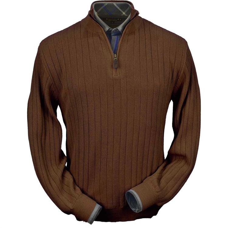 Baby Alpaca Link Stitch Half-Zip Mock Neck Sweater in Brown Heather by Peru Unlimited
