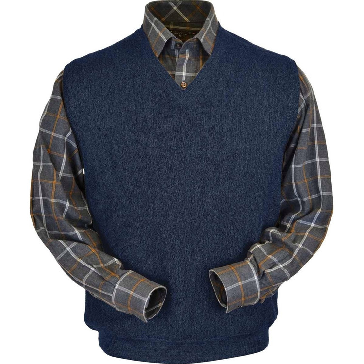 Baby Alpaca Link Stitch Sweater Vest in Denim Heather by Peru Unlimited