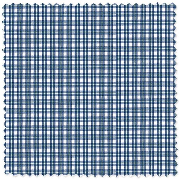 Blue Plaid 'Canclini 120's' Cotton Broadcloth Custom Dress Shirt by Skip Gambert