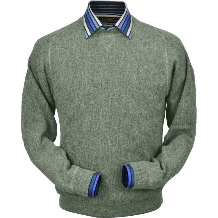 Baby Alpaca Link Stitch Sweatshirt Style Sweater in Soft Green Heather by Peru Unlimited