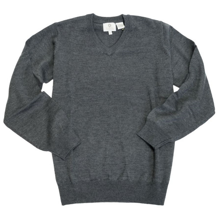 Merino Wool V-Neck Sweater in Charcoal by Viyella
